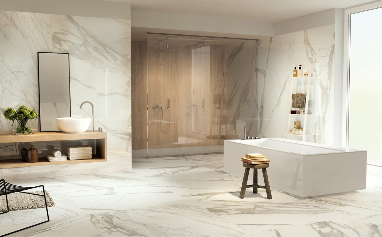 calacatta tile bathroom